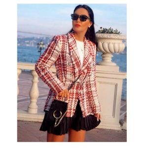 Zara jewel button tweed jacket (2135)